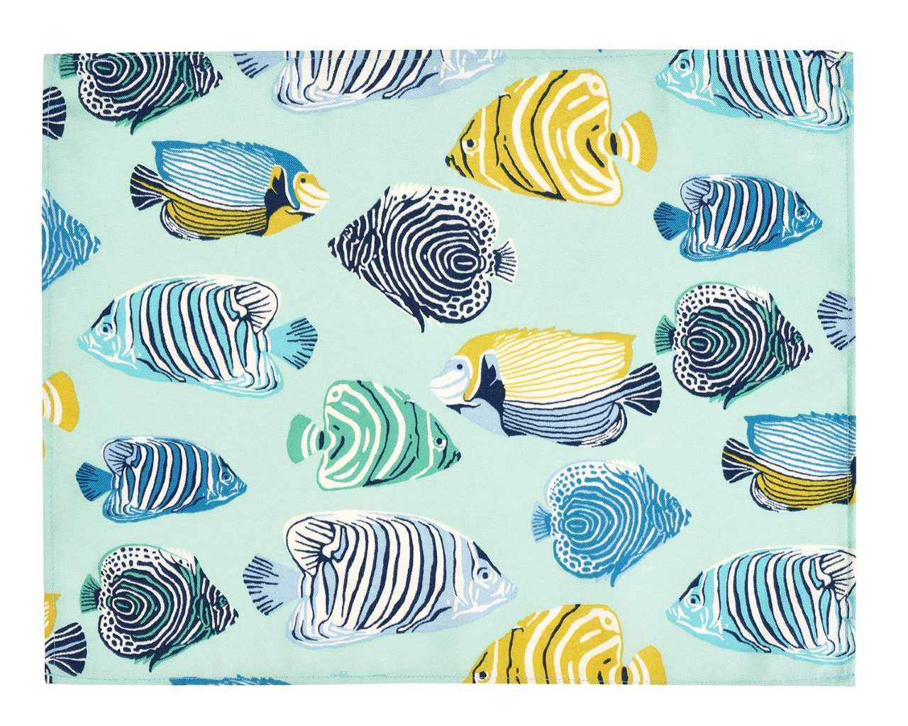 Linen Placemats Fabric Placemats Cloth Placemats Table Mats Set of 4 Fish Polyester Turquoise