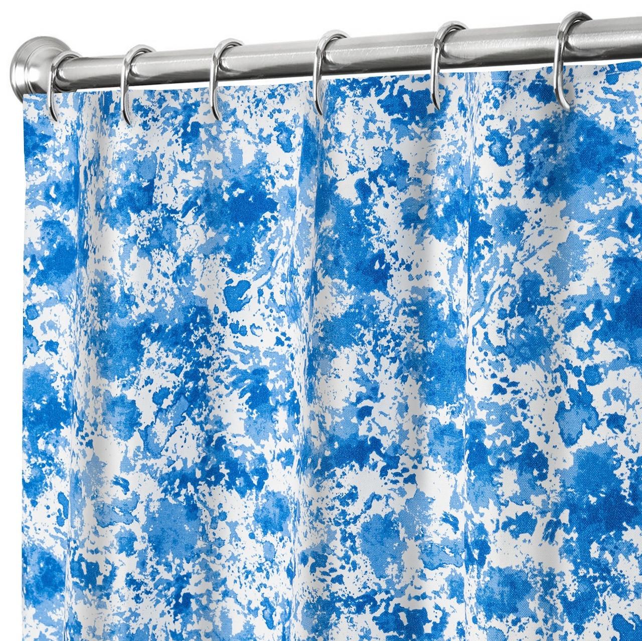 Farmhouse Bathroom Decor Splatter Blue Shower Curtain