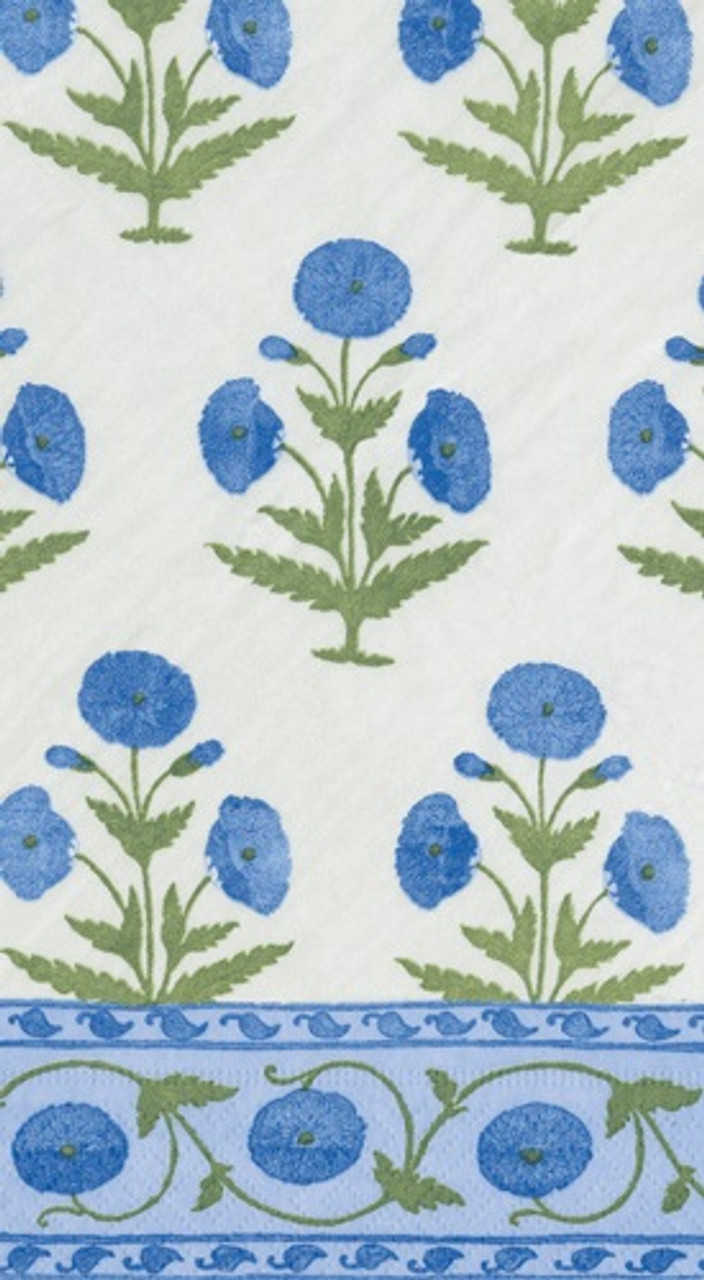 Indian Poppy Blue Guest Towel 4.5 x 8 Inch Pk 30