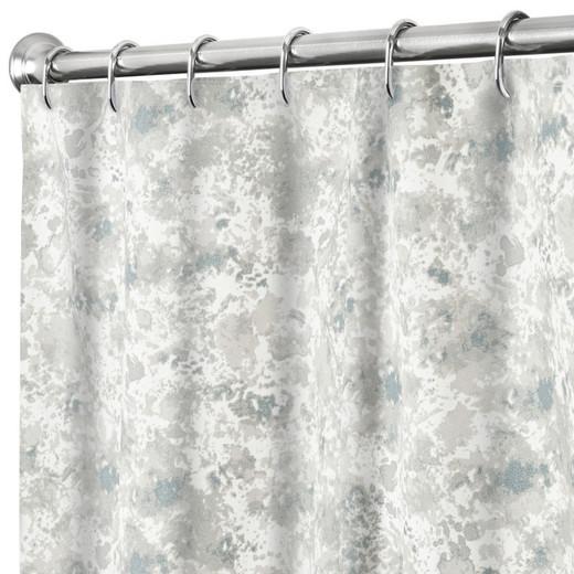 "84 Inch Extra Long Shower Curtain Gray Splatter Print Fabric, 100% Cotton 72"" x 84"""