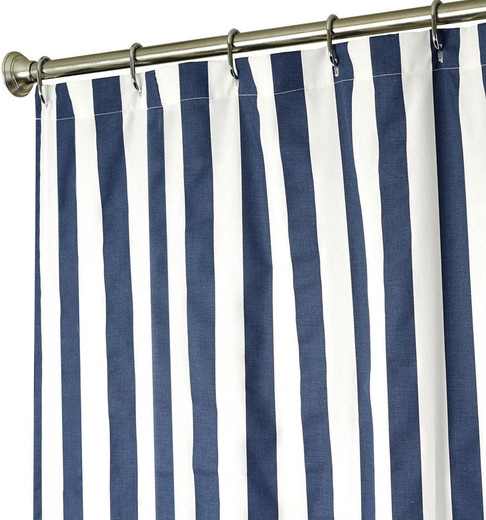 Blue Striped Fabric Shower Curtains