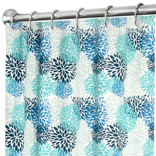 """84 Inch Extra Long Fabric Shower Curtain Turquoise Blue, 100% Cotton 72"""" x 84"""""""