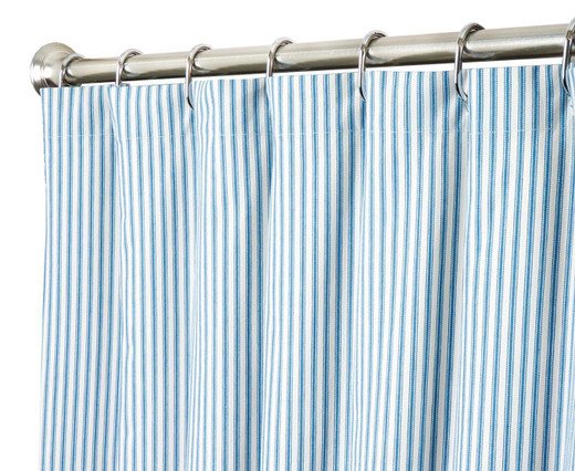 """72 Inch Fabric Shower Curtain Striped Ticking Blue and White 72"""" x 72"""""""