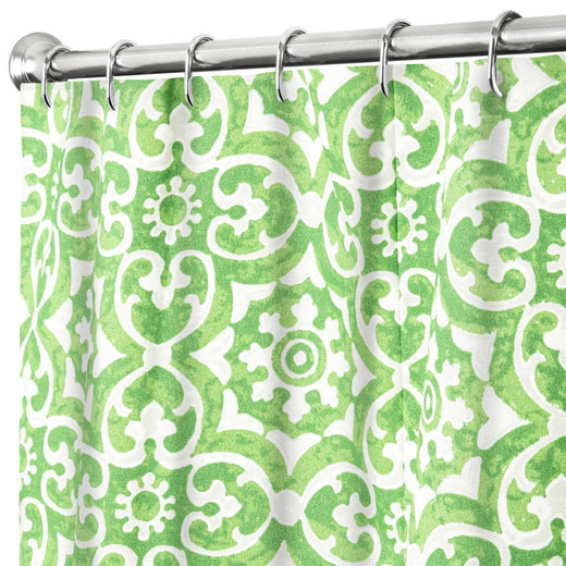 "84 Inch Extra Long Fabric Shower Curtain Green Geometric, 100% Cotton 72"" x 84"""