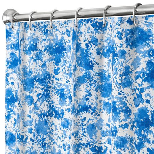 Extra Long Shower Curtains Blue Splatter