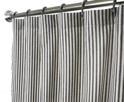 """84 Inch Extra Long Fabric Shower Curtain Black and White Striped Ticking 72"""" x 84"""""""