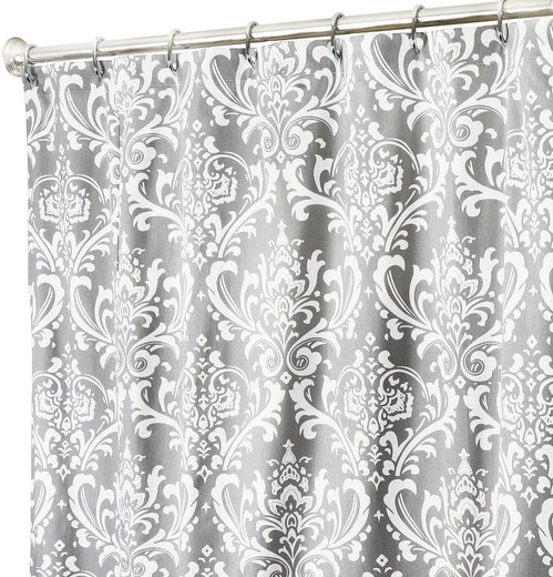 Gray Damask Fabric Extra Long Shower Curtains