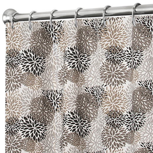 """84 Inch Extra Long Fabric Shower Curtain Gray Modern Floral, 100% Cotton 72"""" x 84"""""""