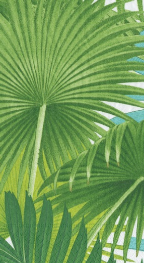 Palm Fronds White Guest Towel 4.5 x 8 Inch Pk 30