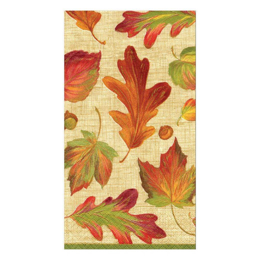 Linen Leaves Fall Décor Paper Hand Towels Pk 30
