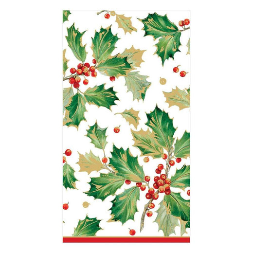 Gilded Holly Christmas Hand Towels Pk 30