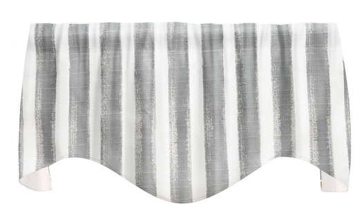 """Striped Gray Valance Curtains, Kitchen Window Valances, Living Room Curtains 53"""" x 18"""""""
