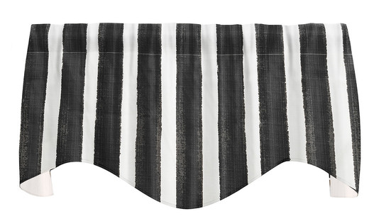 """Striped Black and White Valance Curtains, Kitchen Window Valances, Living Room Curtains 53"""" x 18"""""""