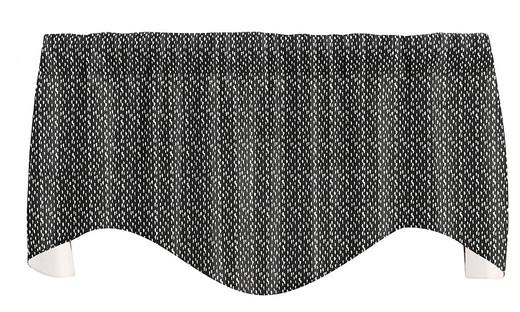 "Dots Black Valance Curtains, Kitchen Window Valances, Living Room Curtains, 53"" x 18"""