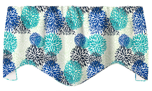 "Floral Blue Valances for Windows, Kitchen Valances or Valances for Living Room Valance Curtains 53"" x 18"""