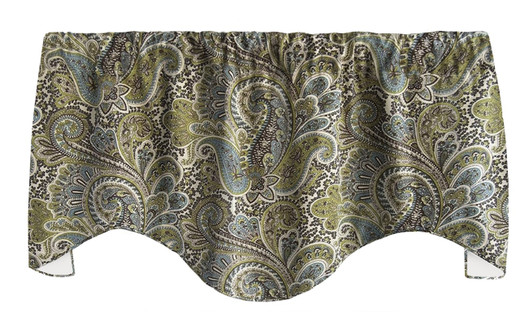 """Paisley Gray Window Treatments Valance Curtains Kitchen Window Valances or Living Rooms 53"""" x 18"""""""