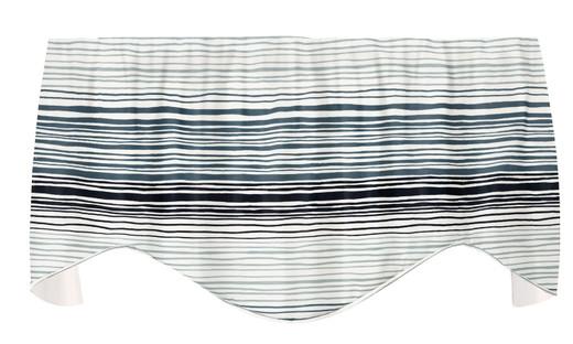 "Blue Ombre Striped Valances for Windows, Kitchen Valances, Valances for Living Room Valance Curtains 53"" x 18"""