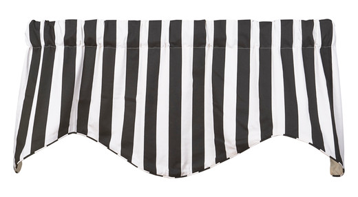 """Black and White Curtains Striped Window Treatments, Valance Curtains, Kitchen Window Valances or Living Room Curtains 53"""" x 18"""""""