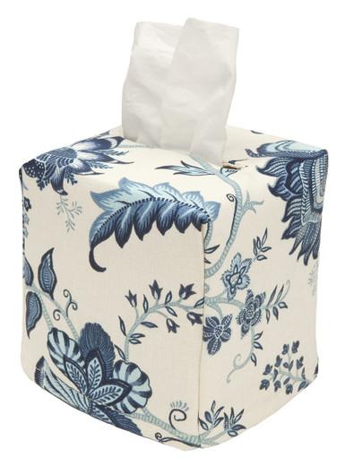 Tissue Box Cover Tissue Holder Square Cube Blue Floral Bathroom Decor Bathroom Accessories,