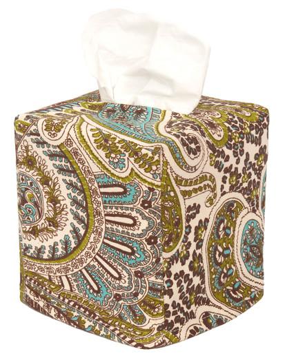 Tissue Box Cover Tissue Holder Square Cube Decorative Blue Paisley Print Bathroom Accessories, Bathroom Decor, Desk Decor