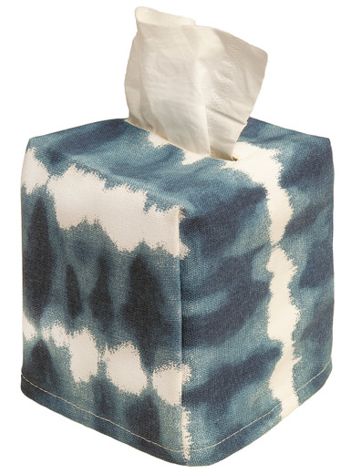 Tissue Box Cover Tissue Holder Square Cube Decorative Blue Bathroom Decor Shibori Tie Die Print Indigo