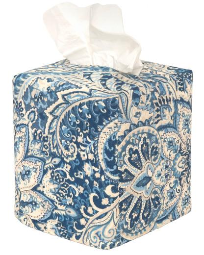 Tissue Box Cover Tissue Holder Square Cube Decorative Bathroom Accessories, Bathroom Decor or Desk, Blue Paisley