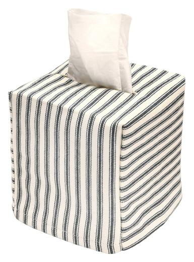 Tissue Box Cover Tissue Holder Square Cube Decorative Black and White Bathroom Decor Ticking Stripe