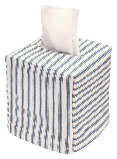 Tissue Box Cover Tissue Holder Square Cube Decorative Bathroom Decor Blue Ticking Stripe