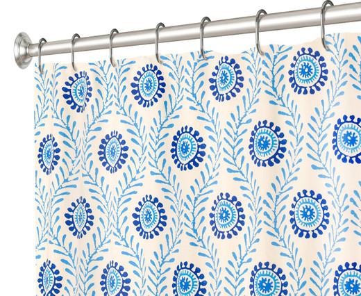"84 Inch Extra Long Fabric Shower Curtain Waverly Blue Block Print, 100% Cotton 72"" x 84"""