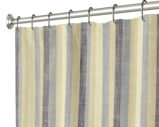 """84 Inch Extra Long Fabric Shower Curtain, Blue and Brown Striped, 100% Cotton 72"""" x 84"""""""