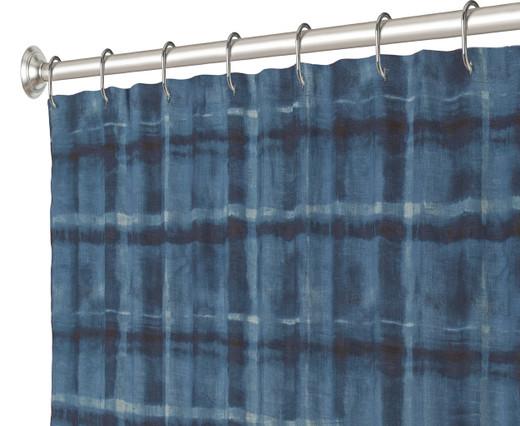 """72 Inch Long Fabric Shower Curtain Indigo Tie Die Stripe 72"""" x 72"""""""