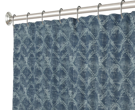 "84 Inch Extra Long Fabric Shower Curtain Shibori Diamond 72"" x 84"""