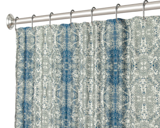 """84 Inch Extra Long Fabric Shower Curtain Lapis Blue 72"""" x 84"""""""