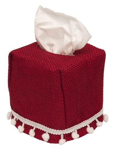 Cloth Tissue Box Cover Burlap White Pom Poms
