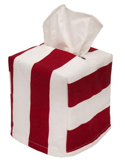 Cloth Tissue Box Cover Stripe Red and White