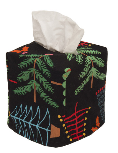 Cloth Tissue Box Cover Holiday Pines