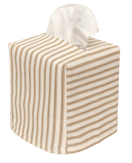 Cloth Tissue Box Cover Driftwood Stripe