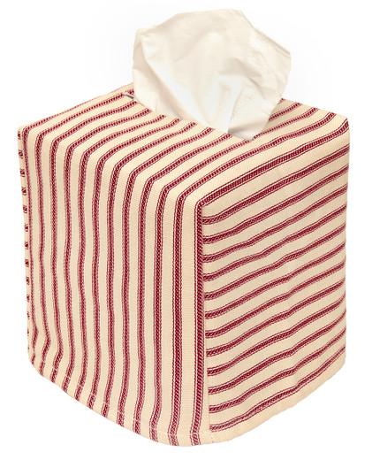 Cloth Tissue Box Cover Red Stripe