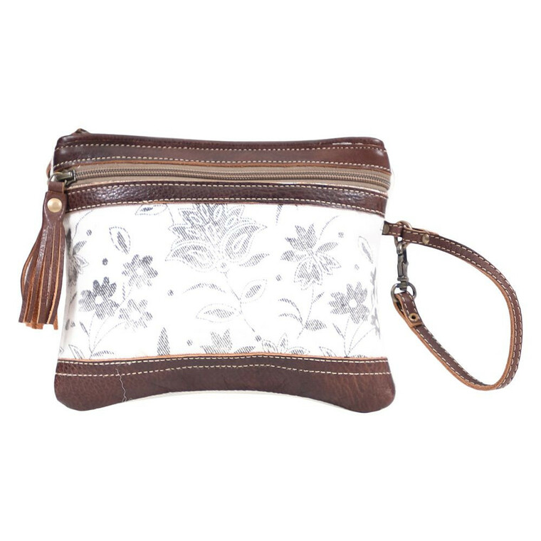 Flower print upcycled canvas and leather small wristlet pouch that can hold, mobile phone, wallet, cosmetic, and other daily things.