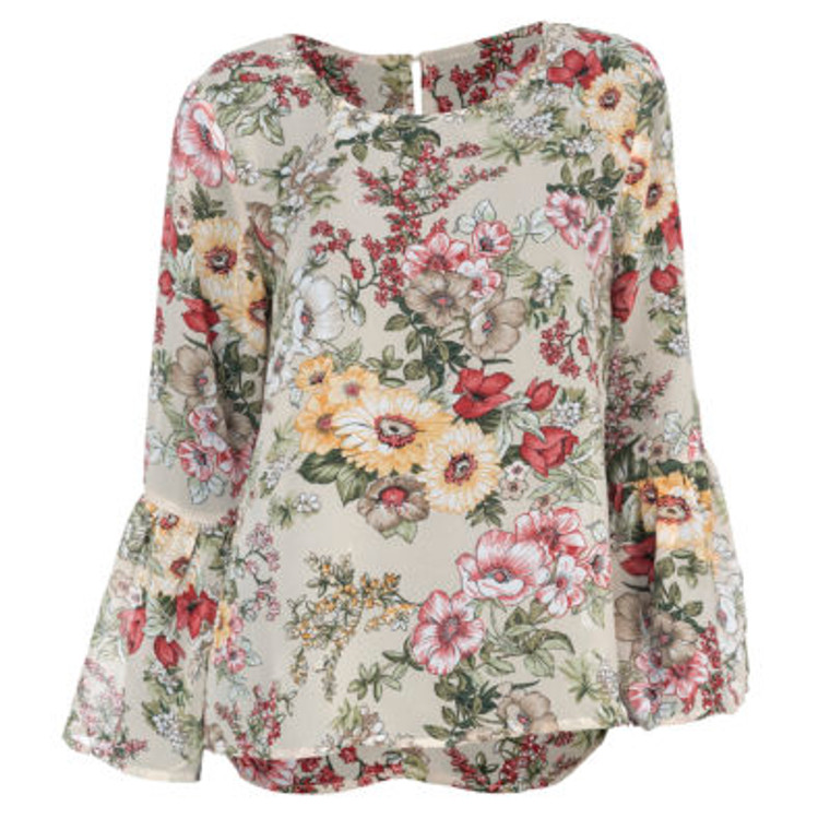 Sheer floral top in navy or cream pairs perfectly with your favorite pair of pants, jeans or leggings. Cute keyholew detail in the back neck area. The bell sleeves make it a year-round staple and the sheer fabric make it light enough for a summers night.