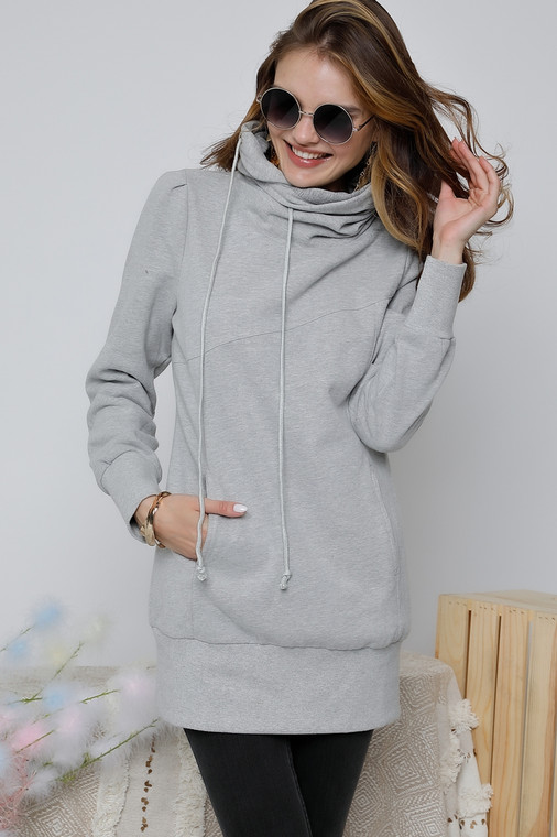 This one is a go-to for cozy! Its extra long design makes it a perfect parter with all of your leggings. It is made of a thick sweatshirt material that will surely make it your favorite sweatshirt in your closet!