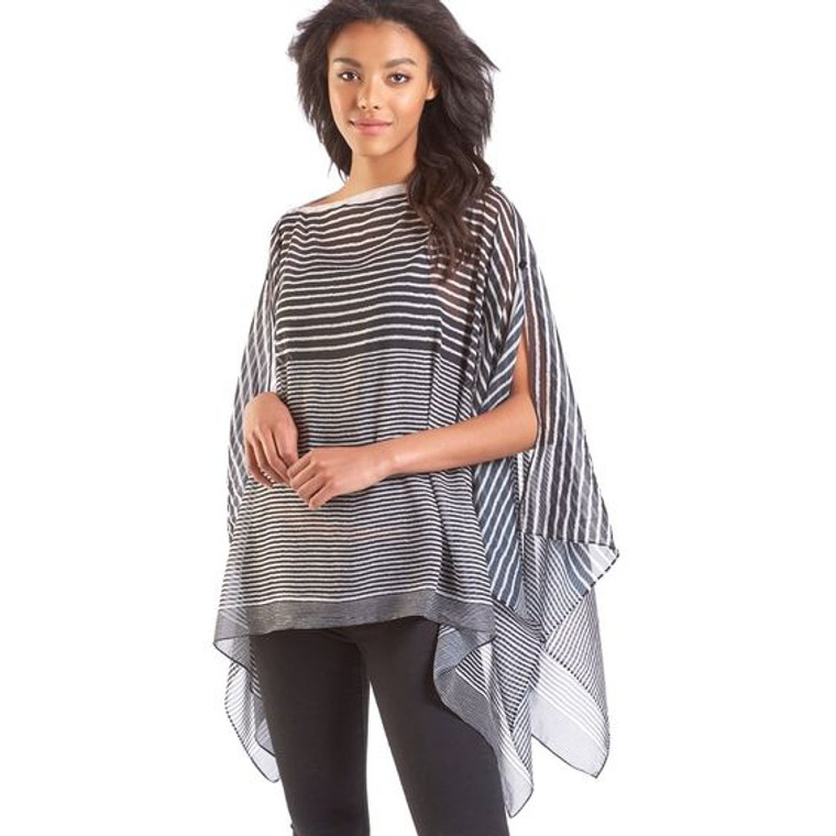 Lightweight Sheer Poncho perfect for summer nights or over dress for a dinner or theater date. Also can be unbuttoned and used as a scarf.