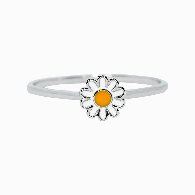 Everyone loves fresh flowers, but our Daisy Ring issooomuch better. Set on a silver-plated band, this low-profile style features an enameled daisy charm that's perfect for stacking (and practically screams spring!).