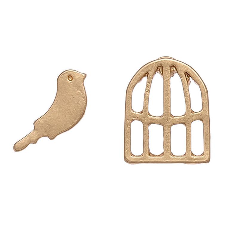 Nickel Free Bird and Cage Gols Stud Earrings