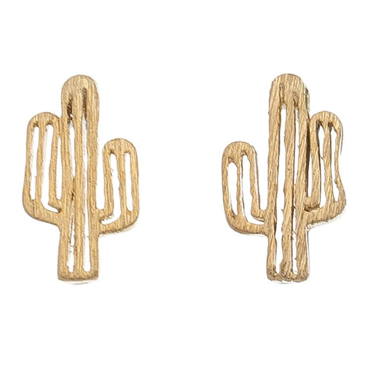 Nickel Free Gold Cactus Stud Earrings