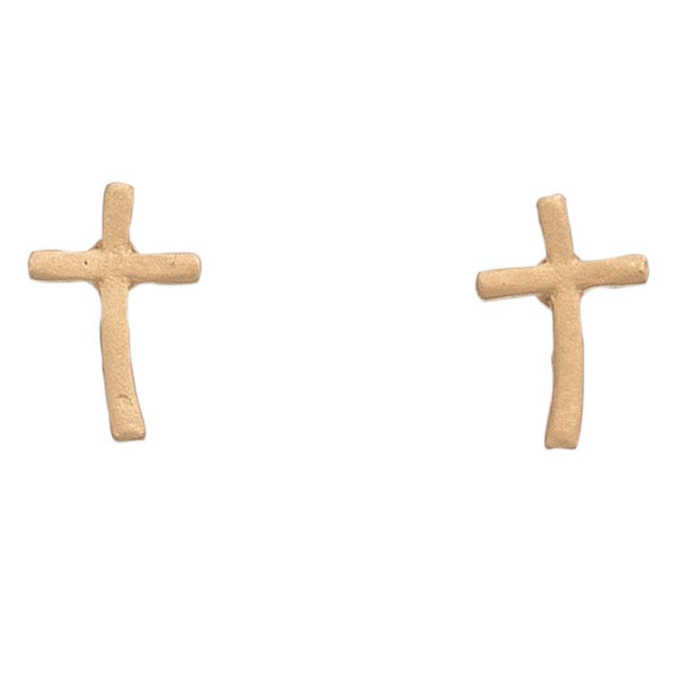 Nickel Free Gold Cross Stud Earrings
