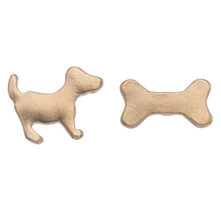 Nickel Free Dog and Bone Gold Stud Earrings