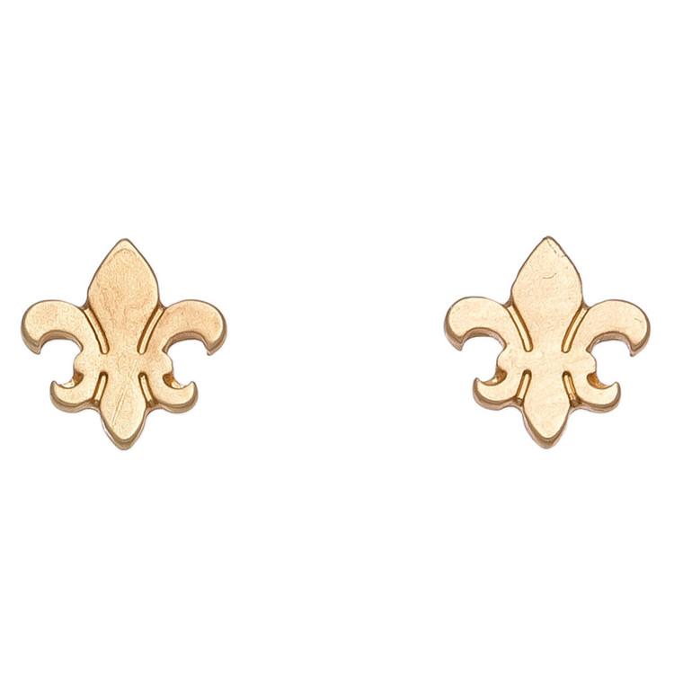 Nickel Free Gold Fleur De Lis Stud Earrings