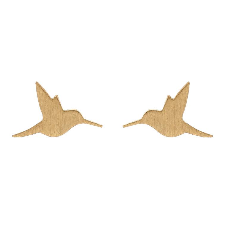 Nickel Free Gold Hummingbird Stud Earrings