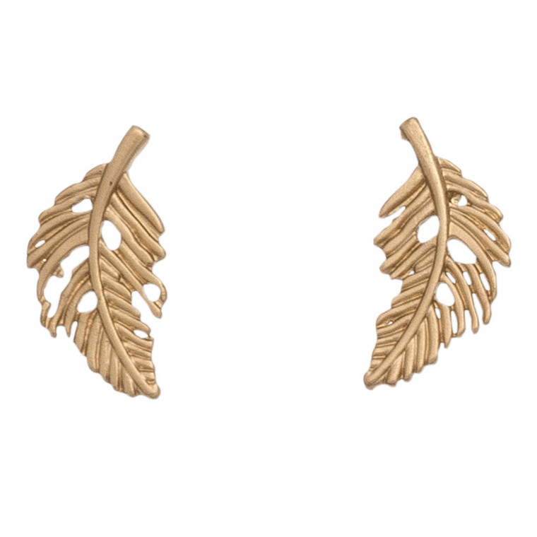 Nickel Free Gold Feather Stud Earring